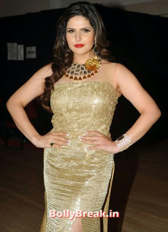 , Zarine Khan hot Golden Dress Photos for Amy Billimoria Show at IBJA 2014