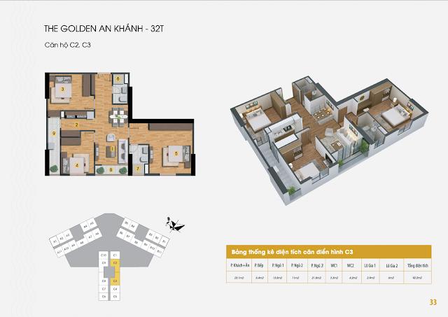 Thiết kế căn hộ A1 B5 C6, dt 92m The Golden An Khánh