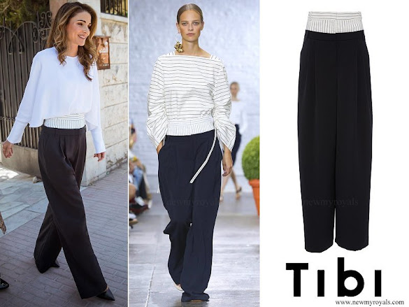 Queen Rania wore Tibi Cecil Double Waist Pants
