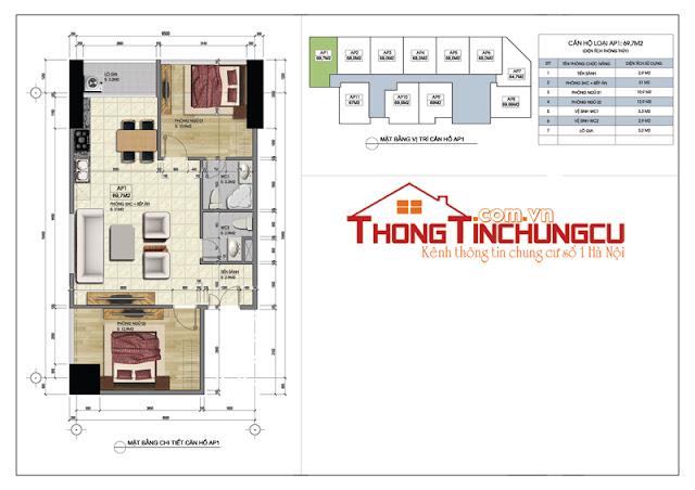 Thiết kế căn góc số 01 – căn hộ số 01 dự án Central Field MBLand 219 Trung Kính – diện tích 69.7m2.