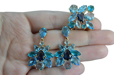Conjunto Brinco Anel Cristal Azul Semi Joia