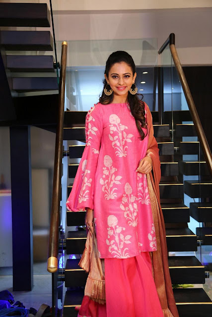 Rakul Preet Singh Pink Dress Stills at Lakme Fashion Week