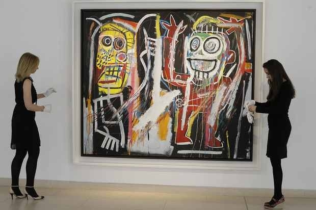 low priced 6f62a c0c42 A Jean-Michel Basquiat painting has set a new auction record for the  graffiti artist at a sale of postwar and contemporary art in New York.