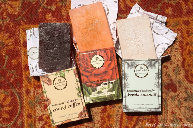 Just Herbs Kerala Coconut, Coorgi Coffee, Wild Indian Rose Handmade Soaps
