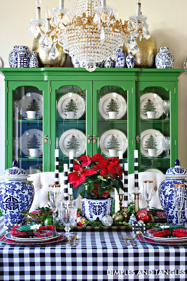 Blue And White Gingham And Plaid Christmas Tablescape Dimples And Tangles