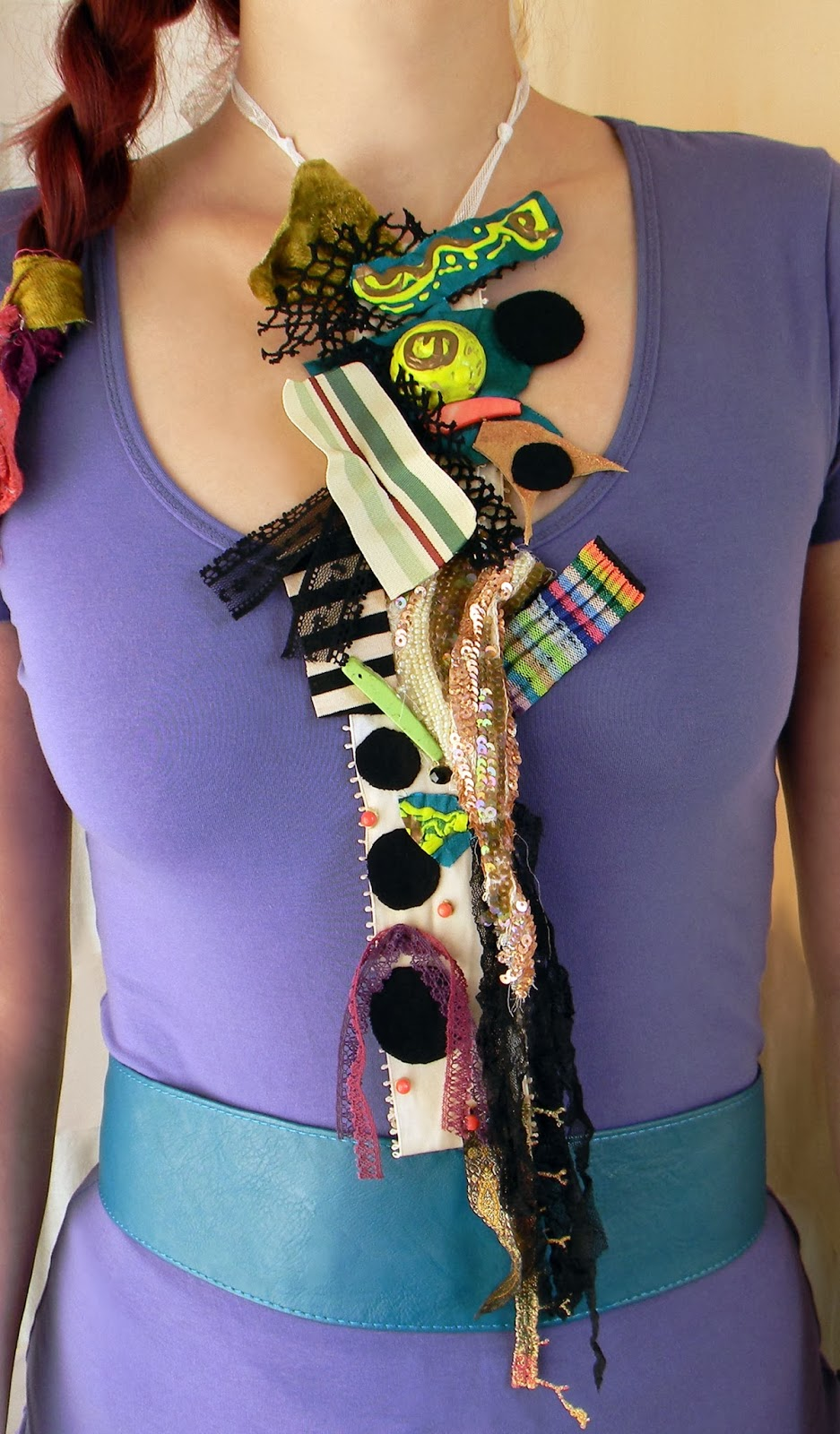 Textile Patchwork Long Necklace, Fashion Couture Neck Piece in Vivid Block Colors