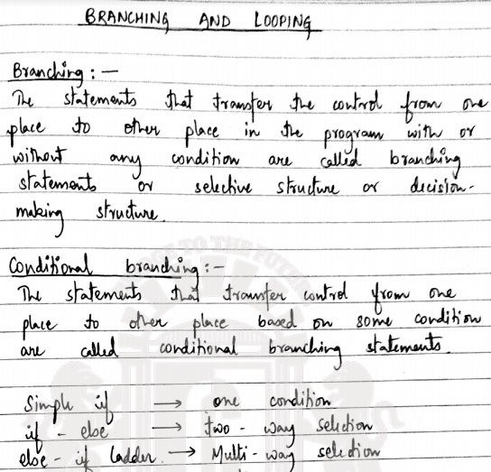 Branching And Looping Excellent Handwritten Notes Pdf