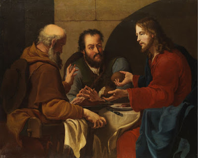 Jesus breaks bread with two followers