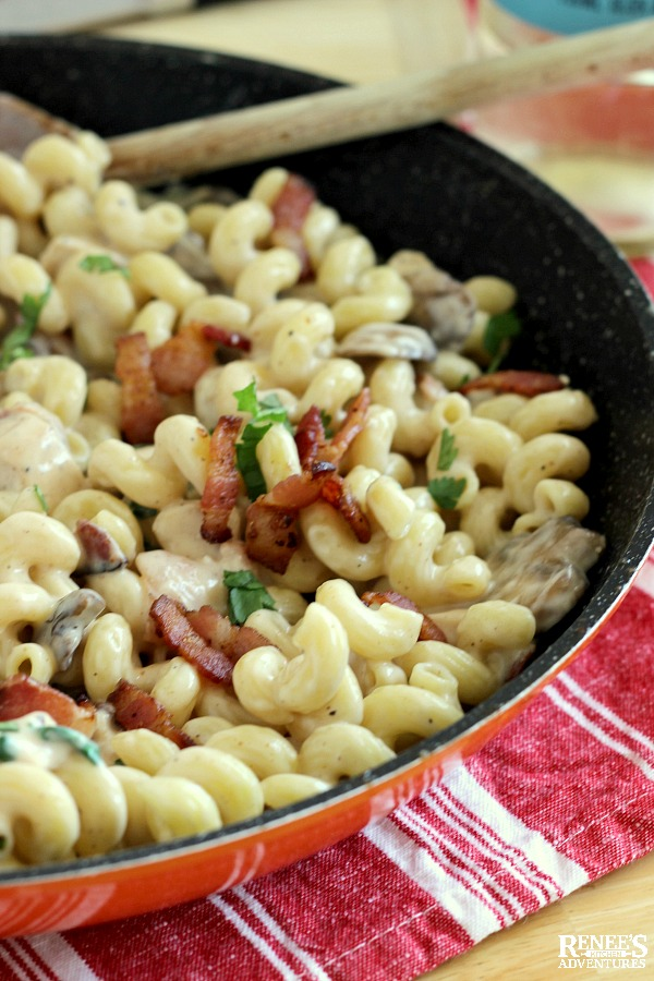 Chicken Bacon Pasta in skillet