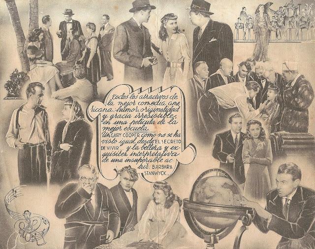 Programa de Cine - Bola de Fuego (Firma del censor) - Gary Cooper - Barbara Stanwyck