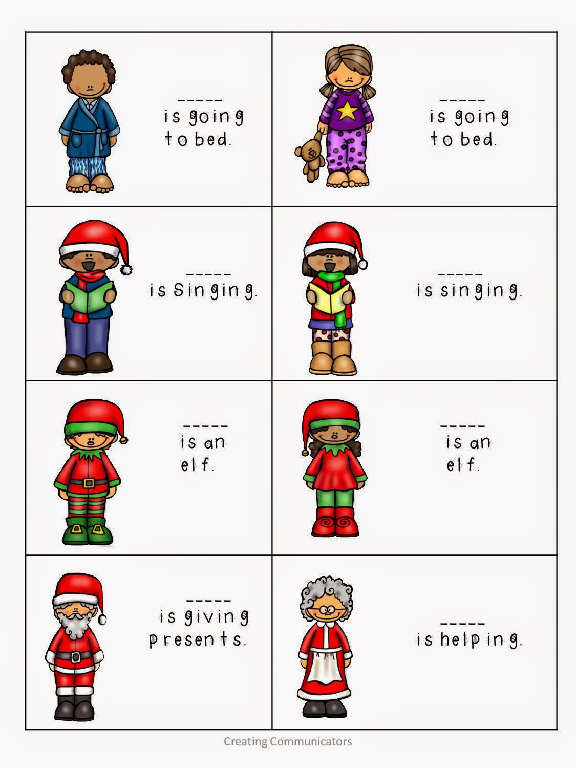 Creating Communicators Elf Speech And Language Activities