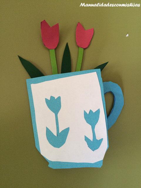 Manualidades Con Mis Hijas Tarjeta De Taza Con Flores Para El Dia