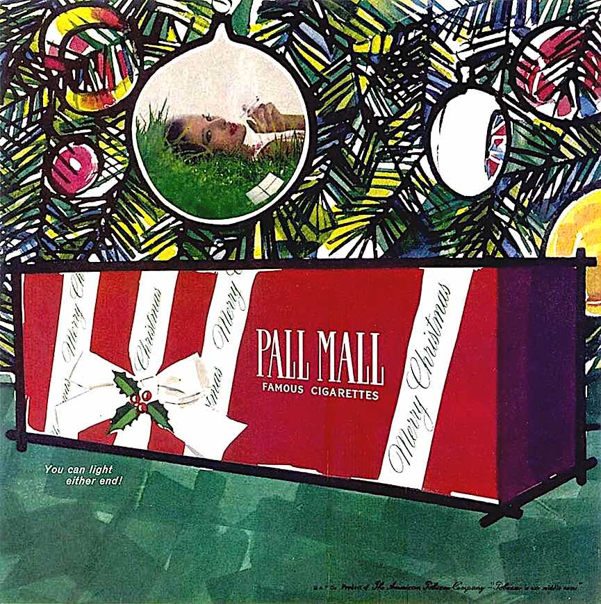 Pall Mall cigarettes carton, Christmas cigarettes, mary blair