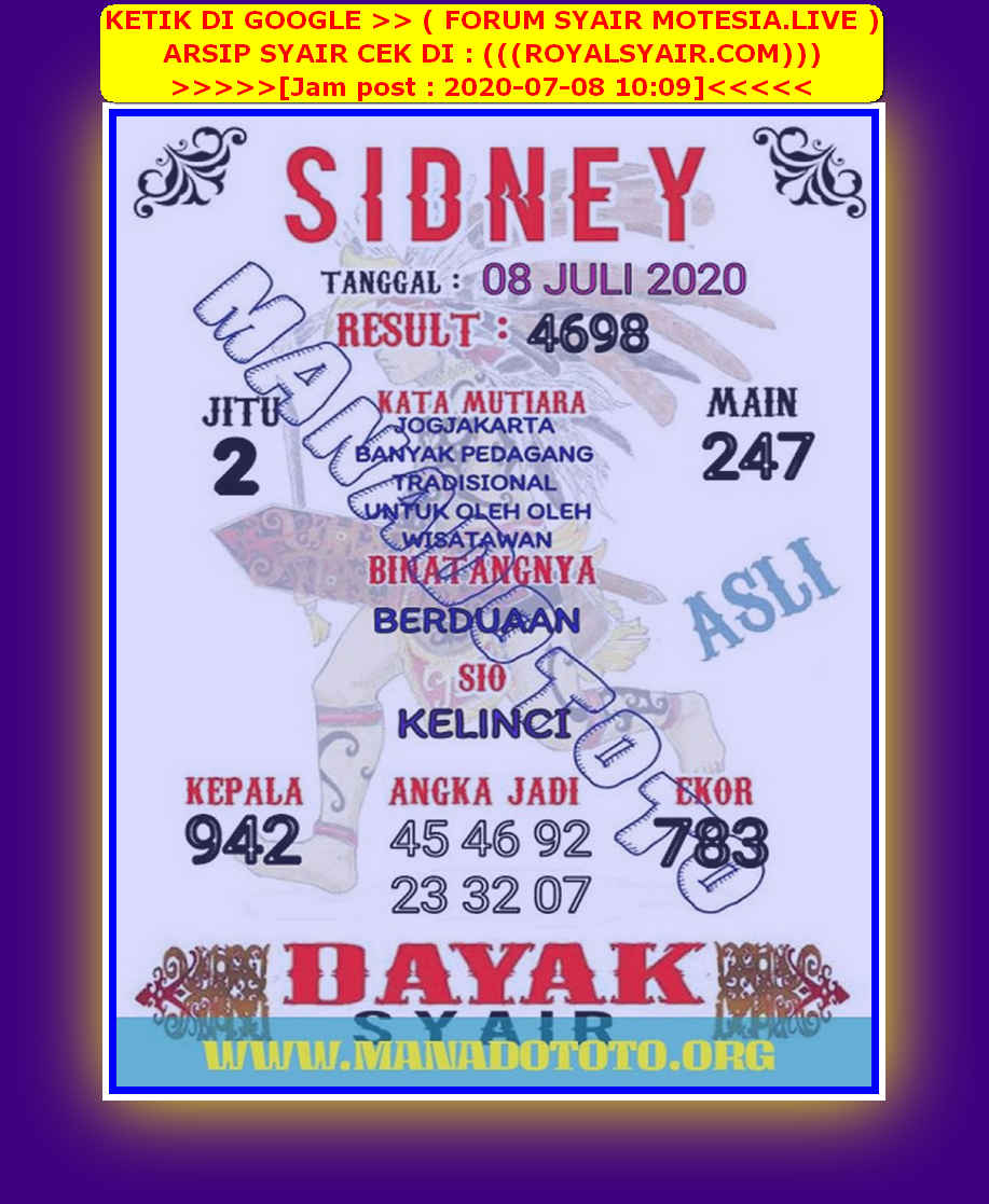 Kode syair Sydney Rabu 8 Juli 2020 53