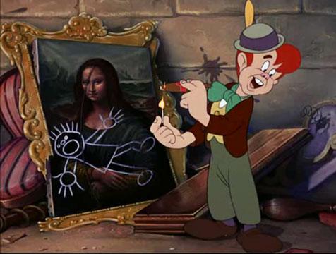 Polilla con la Mona Lisa en Pinocho - Cine de Escritor