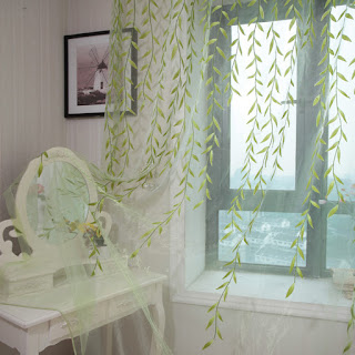 Fresh Green Leaves Pattern Custom Sheer Curtain
