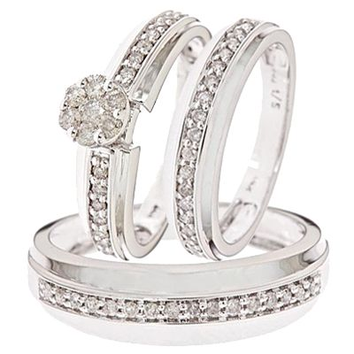 Cheap Trio Wedding Ring Sets White Gold