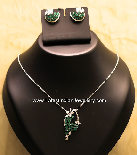 diamond emerald pendant earrings