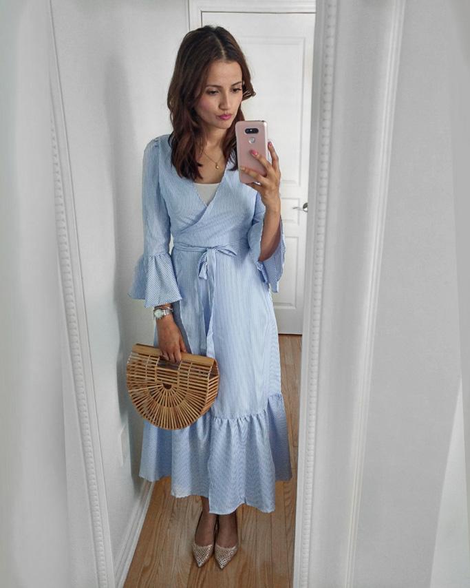 Romwe Blue Ruffle Midi Dress