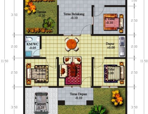 model Denah rumah minimalis modern 3 kamar tidur
