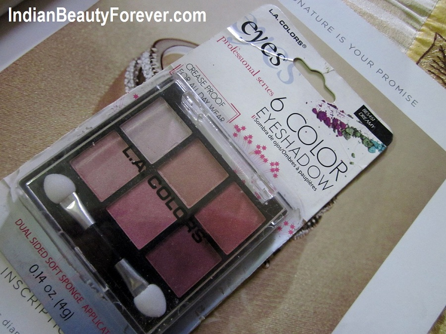 L.A Colors 6 colors eye shadow palette Review and swatches