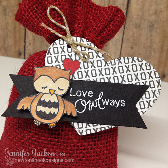 Love Owl-ways Valentine Treat bag by Jennifer Jackson | Sweetheart Tails stamps by Newton's Nook Designs #newtonsnook