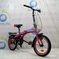 16 Sepeda Lipat Triojet Folding 1.0 Hi-Ten Steel 1Sp V-Brake