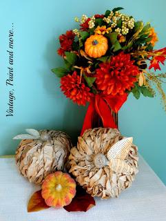 Vintage, Paint and more... DIY lunch bag pumpkins