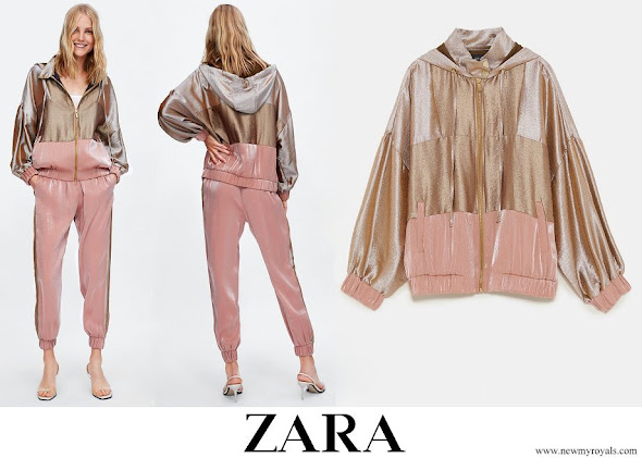 Crown Princess Elisabeth wore ZARA satin jogging jacket