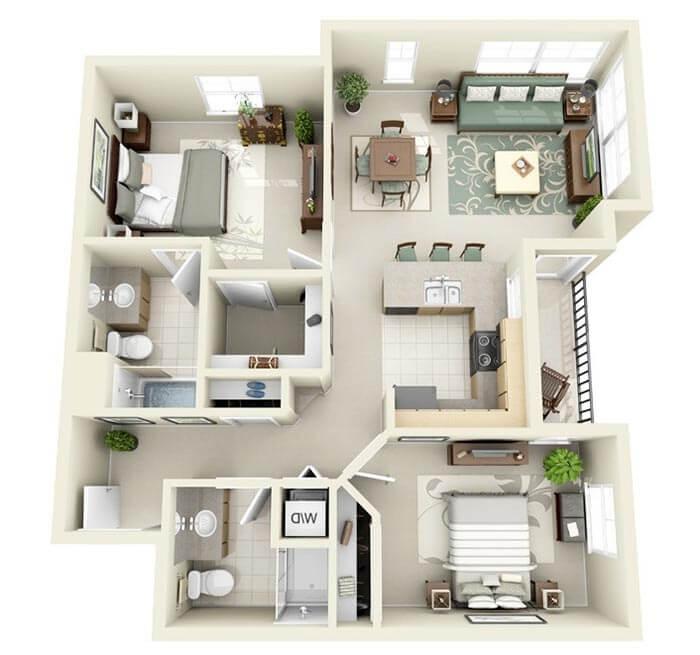 2+1 apartman planları