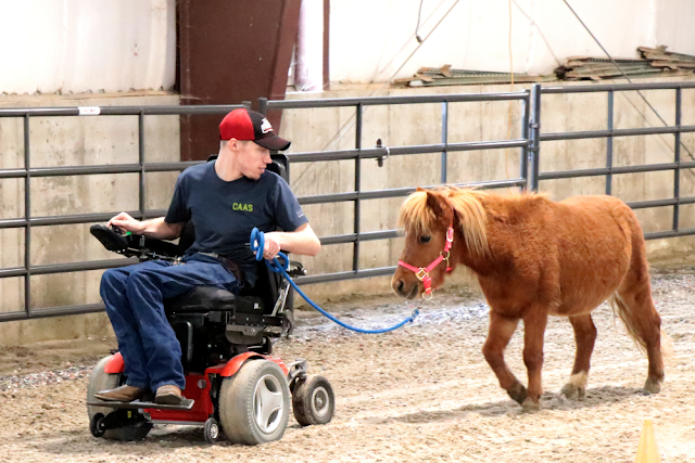 Jack leads a pony while using the motorized chair in the arena.