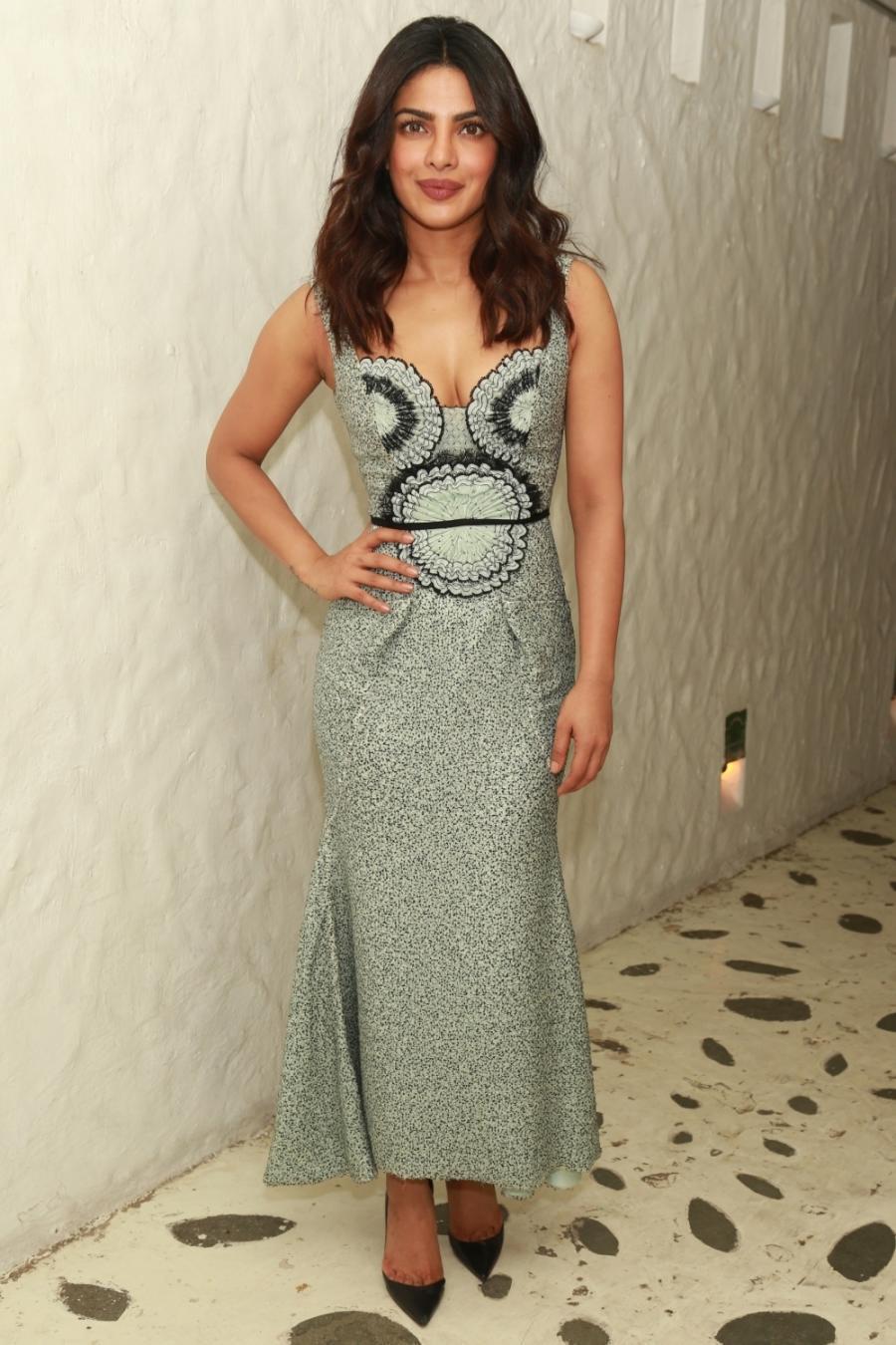 Priyanka Chopra Hot Looking Face Photos In Long Dress