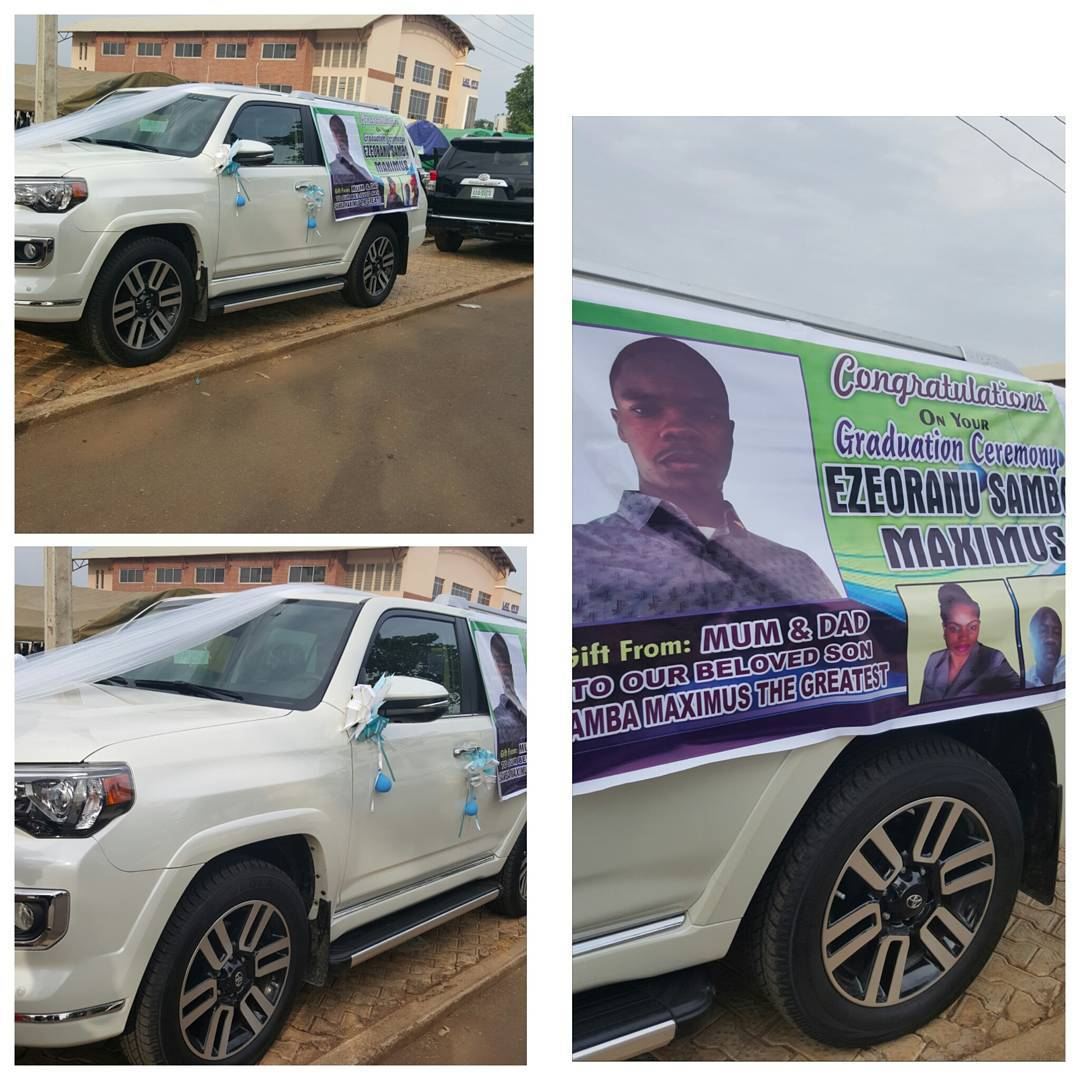 parents give out brand new suv to graduating babcock university student photo kemi filani news. Black Bedroom Furniture Sets. Home Design Ideas