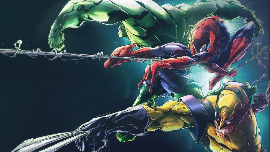 Wolverine, Spide-Man, Hulk, Marvel, Superhero, 8K, #6.2441