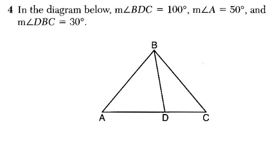in the diagram below, m<bdc = 100, m<a = 50, and m<dbc = 30
