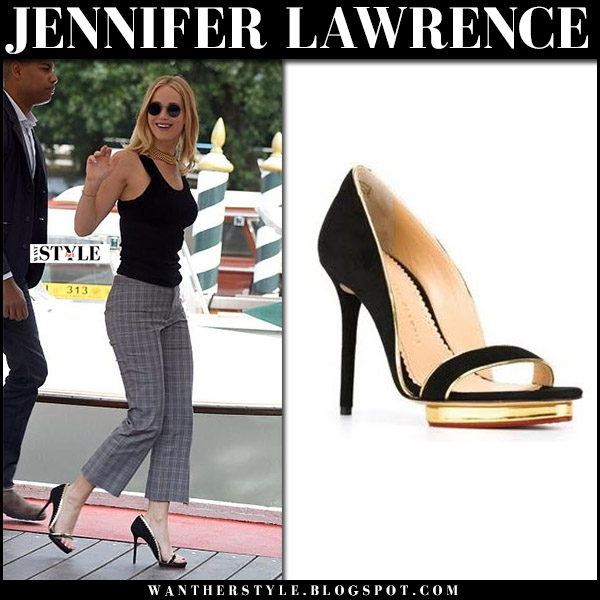 Jennifer Lawrence in black and gold sandals charlotte olympia christine venice september 5 2017