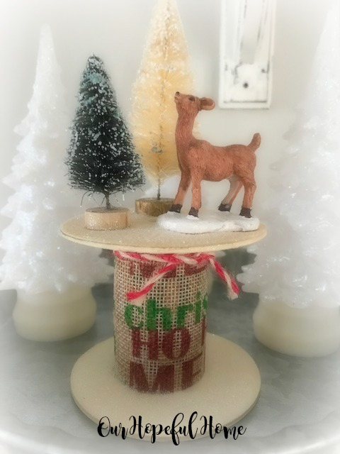 decorated spool bottle brush tree deer glitter