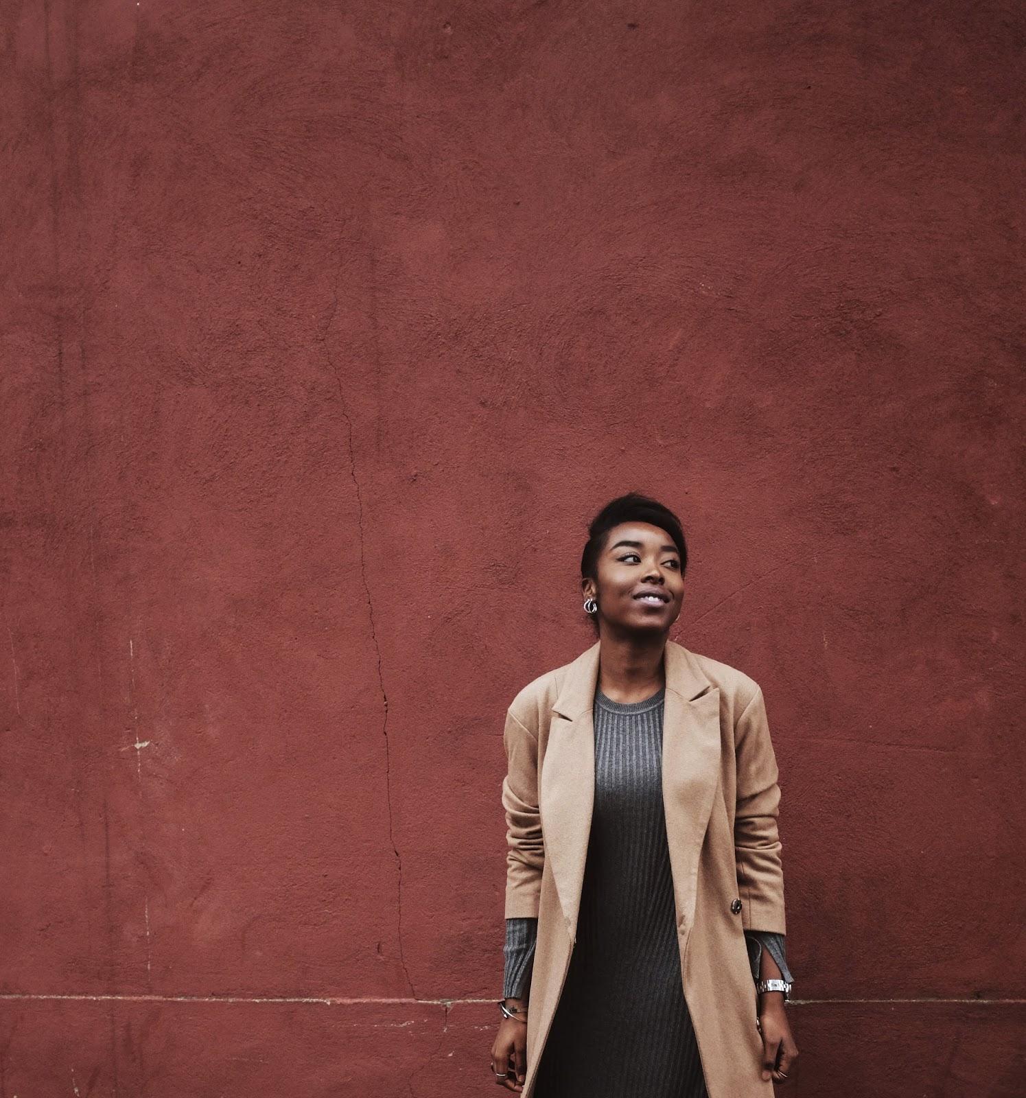 UK Fashion Blogger Camel ASOS Wool Coat Grey H&M Ribbed Knit Dress Silver Timex Watch
