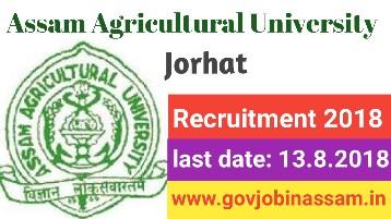 Assam Agricultural University Recruitment 2018
