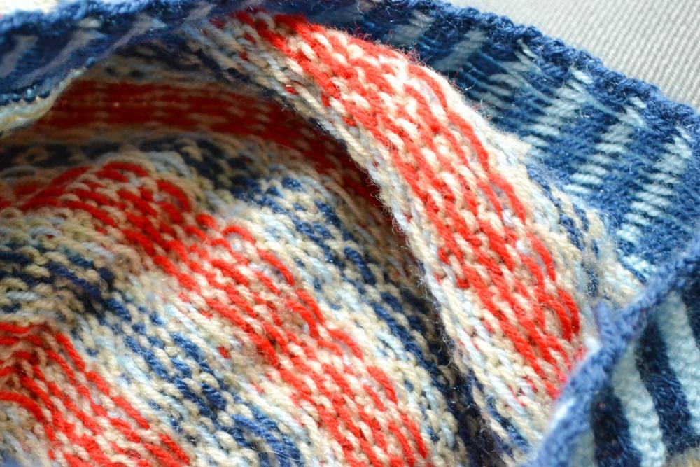 inside knitted thrift hat shetland wool week beret colourwork wrong side
