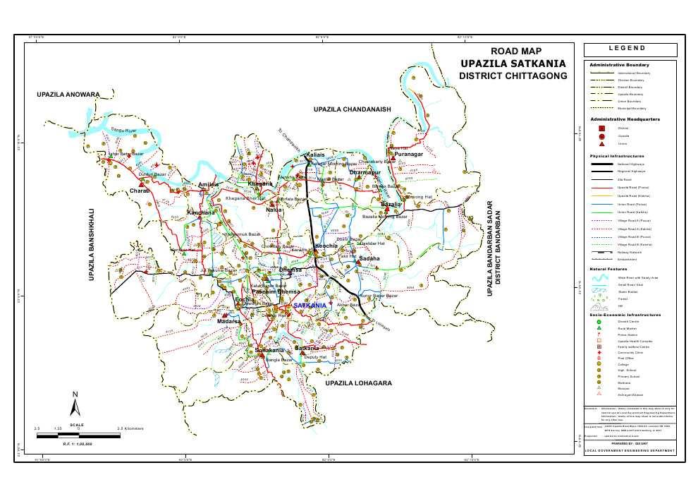 Satkania Upazila Road Map Chittagong District Bangladesh