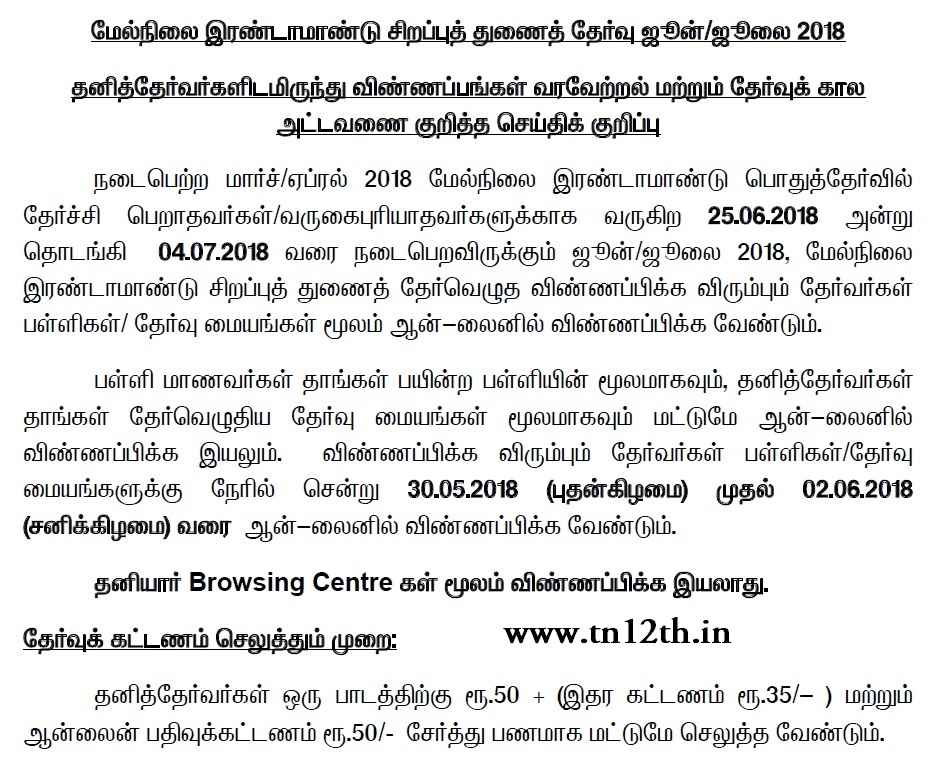 Tamilnadu Plus Two Supplementary June 2018 Application