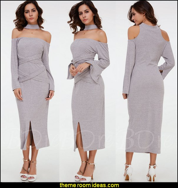 Off-the-Shoulder Long Sleeve Women's Maxi Dress