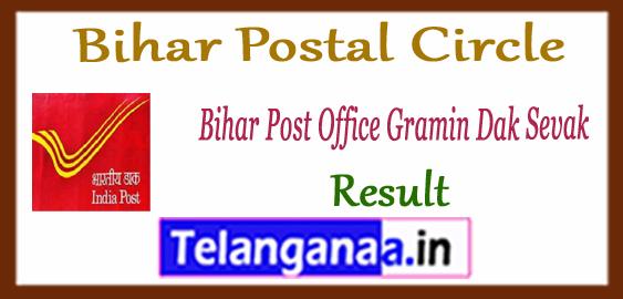 Bihar Postal Circle GDS Gramin Dak Sevak Result 2017-18 Merit List