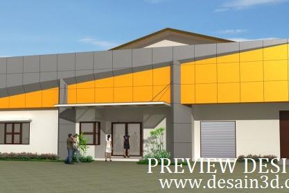 Jasa desain tampak depan bangunan gudang dan kantor modern bagus menarik tidak mahal