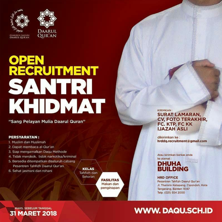 Pendaftaran Menjadi Santri Gratis Di Daarul Qu'ran Ustadz Yusuf Mansur Sampai Tanggal 31 Maret 2018