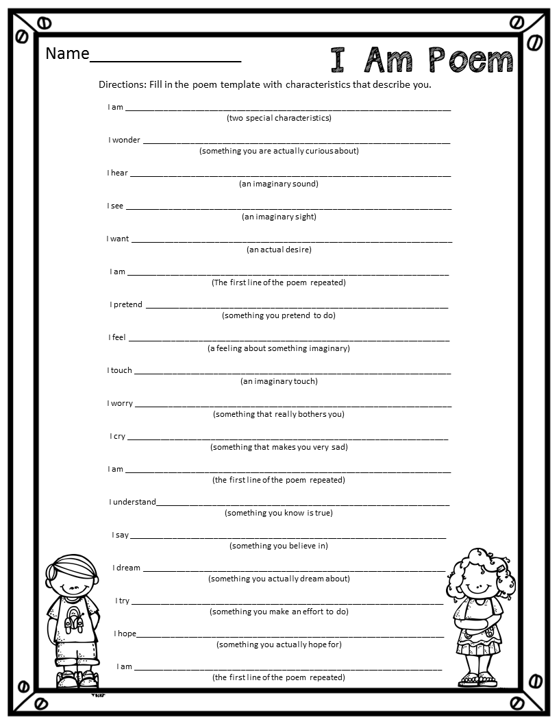 Worksheets For Poems : Who s and new i am poems a fun end of the year