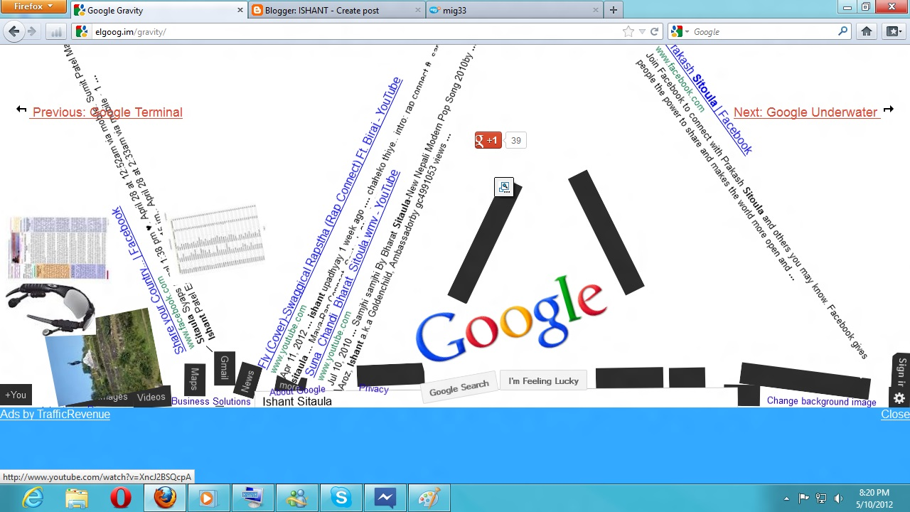 Google gravity google chrome experriment