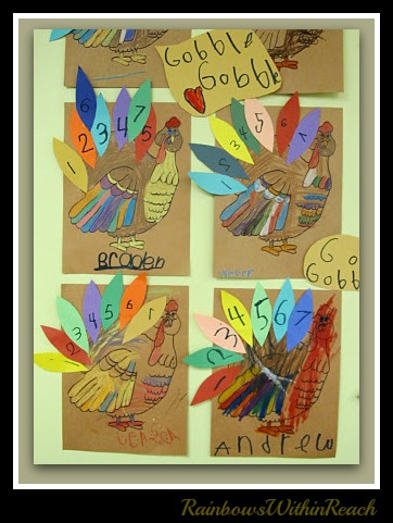 photo of: Turkey Feather Counting: Math Project for Thanksgiving in Kindergarten at PreK + K Sharing