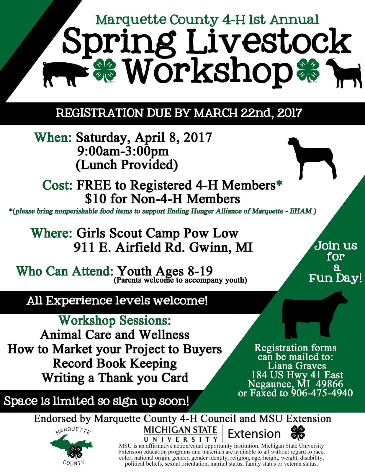 Michigan marquette county gwinn - Marquette County 4 H First Annual Spring Livestock Workshop
